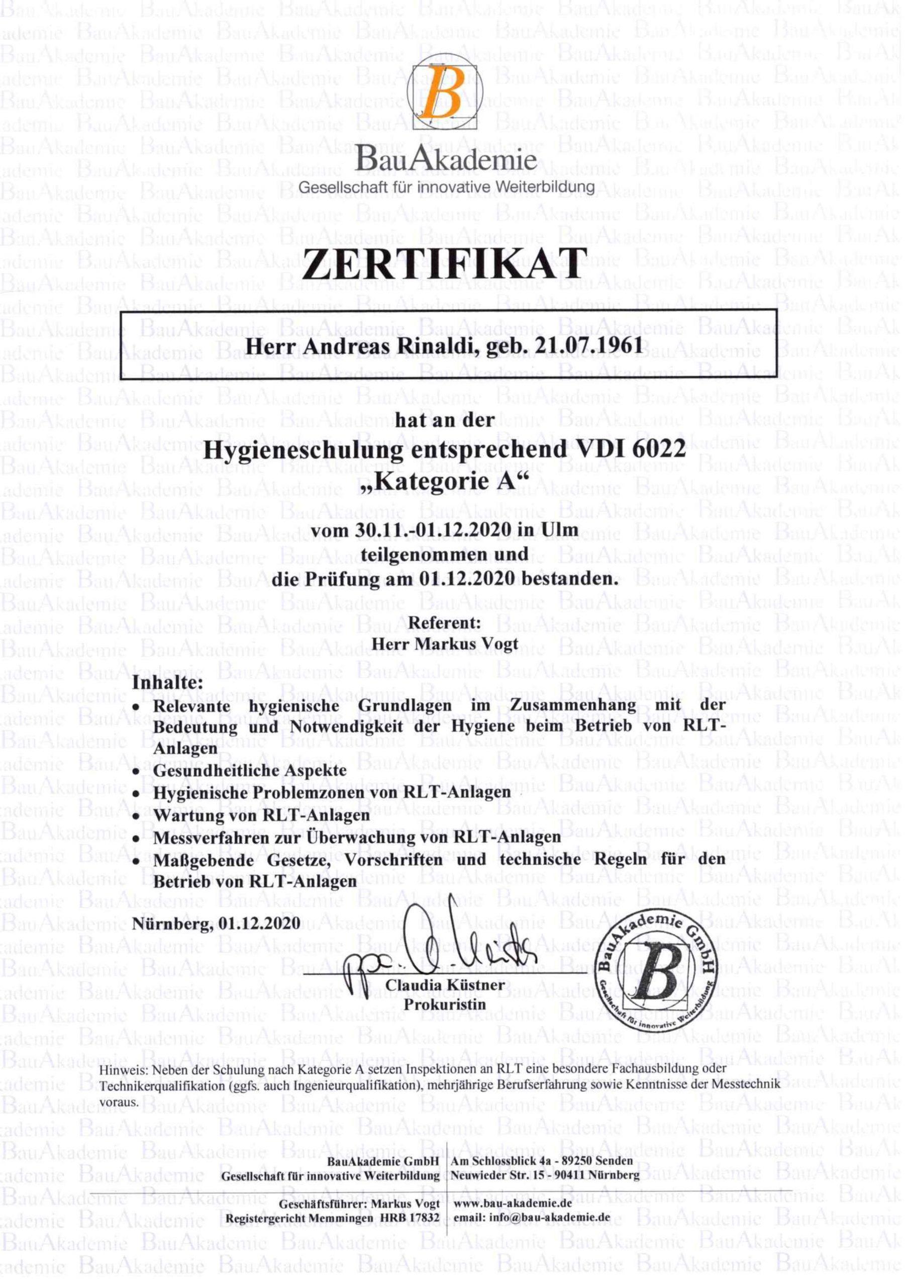 Zertifikat Hygieneschulung