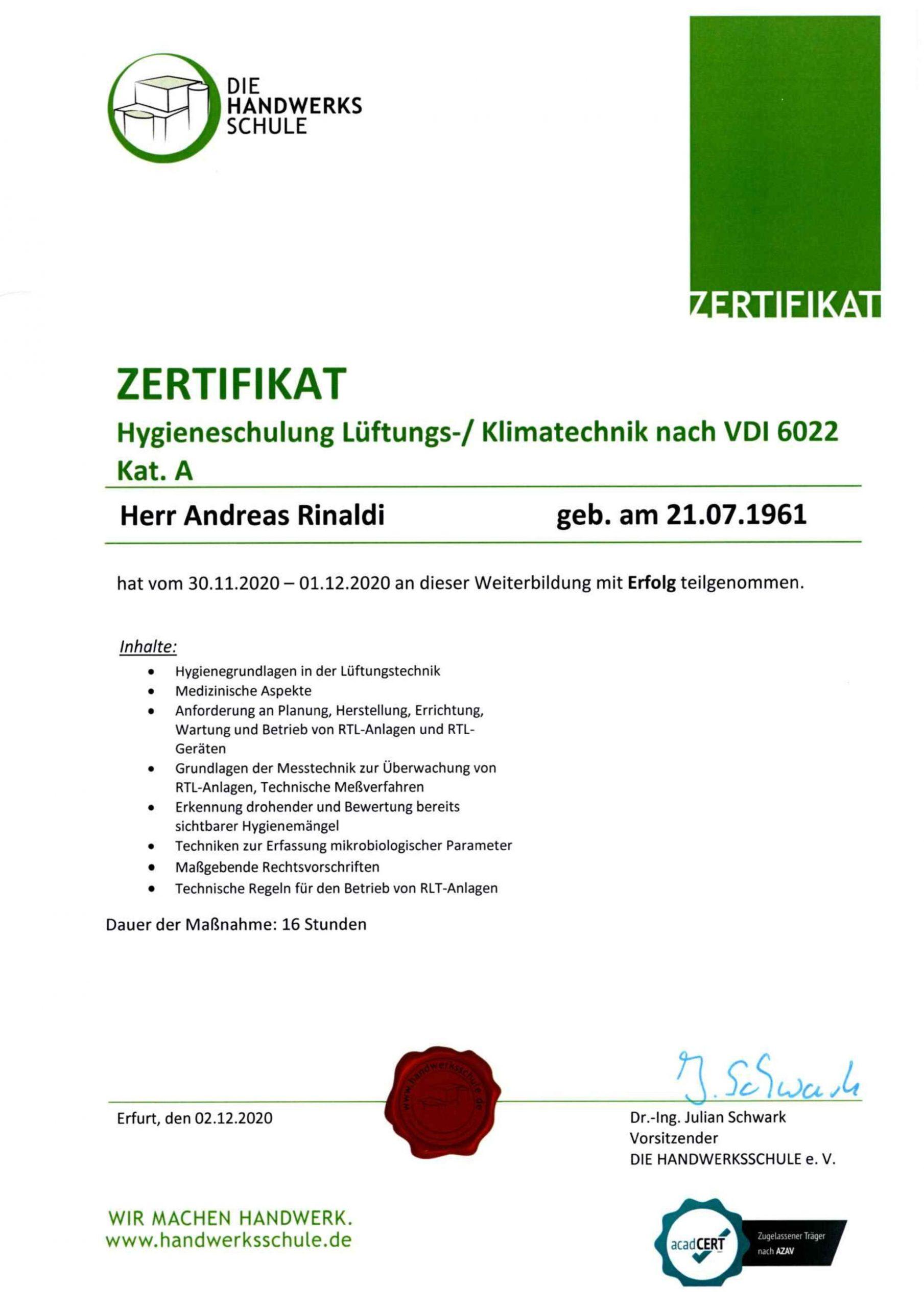 Zertifikat Lüftungs,- Klimatechnik